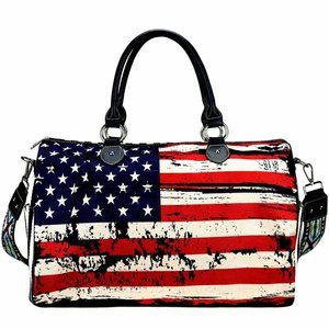 Montana West Travel Patriotic Duffel Flag Purse